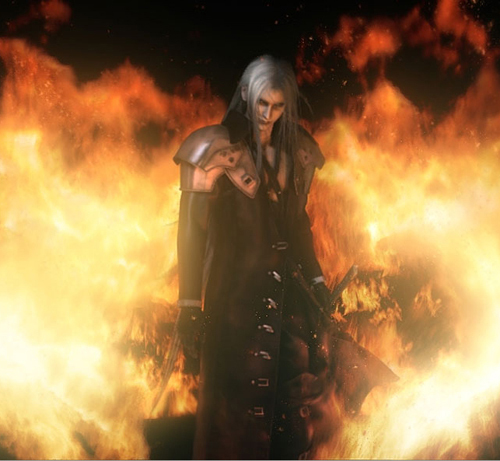 Sephiroth Flames Flames behind