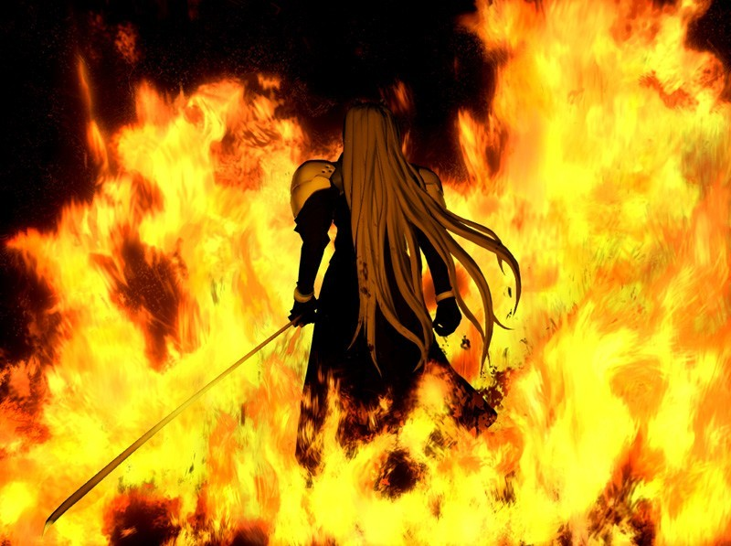 Sephiroth Flames Back Turned Se