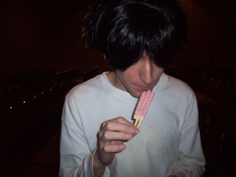 L It's L eating Pocky.